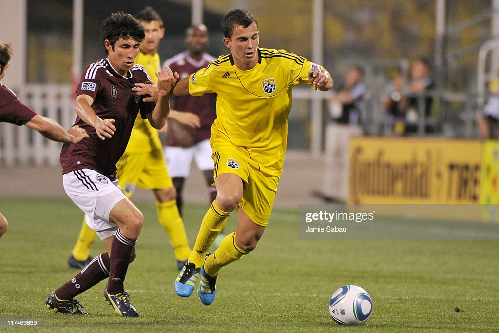 Kosuke Kimura #27 of the Colorado Rapids and Bernardo Anor #7 of the Columbus Crew battle for control of the ball on June 26, 2011 at Crew Stadium in Columbus, Ohio. Columbus defeated Colorado 4-1.
