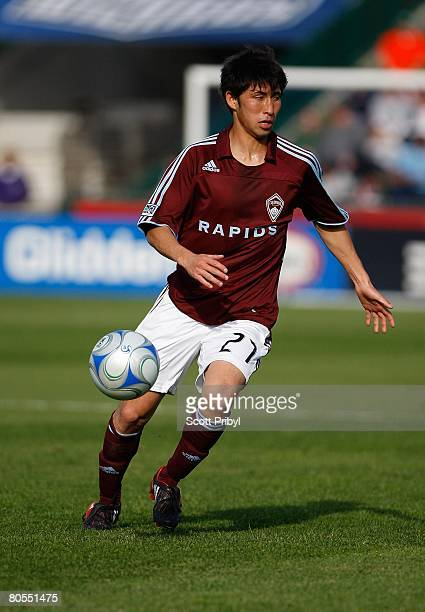 Kosuke Kimura of the Colorado Rapids dribbles against the Kansas City Wizards during the game at Community America Ballpark on April 5, 2008 in...