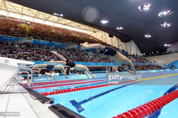 Kosuke Kitajima of Japan dives off of the starting block at the start of heat six of the Men's 100m Breaststroke on Day One of the London 2012...