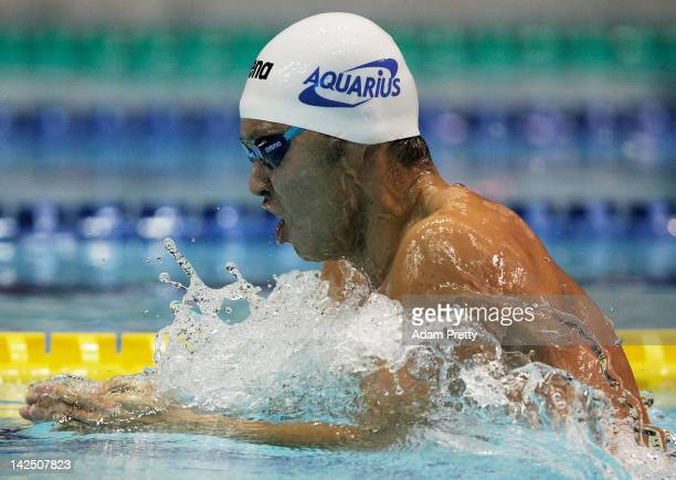 Kosuke Kitajima of Japan swims to victory in the mens 200m breastroke final during day five of the Japan Swim 2012 at Tatsumi International Swimming...