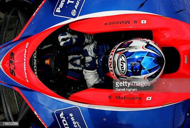 Kosuke Matsuura driver of the Super Aguri Panther Racing Dallara Honda during practice for the IRL Indycar Series Bridgestone Indy Japan 300 on April...