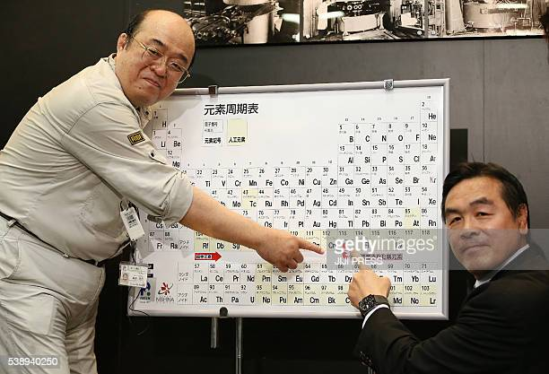 Kosuke Morita who led the team at Riken institute that discovered the superheavy synthetic element and Hiroshi Hase Minister of Education Culture...