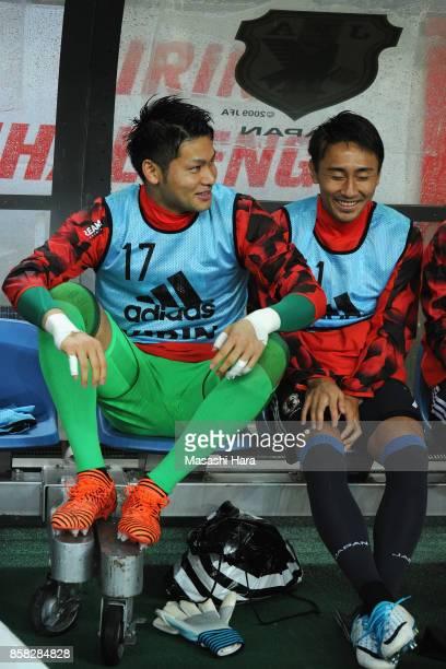 Kosuke Nakamura and Shu Kurata of Japan look on prior to the international friendly match between Japan and New Zealand at Toyota Stadium on October...