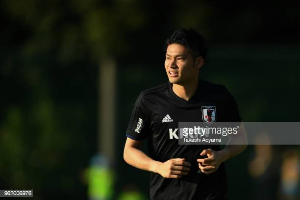 Kosuke Nakamura in action during a Japan training session at Akitsu Football Field on May 24 2018 in Narashino Chiba Japan