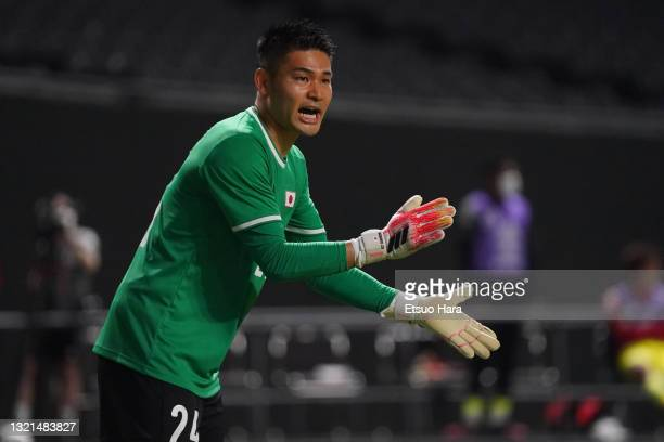 Kosuke Nakamura of Japan gestures during the friendly match between Japan and Japan U-24 at the Sapporo Dome on June 3, 2021 in Sapporo, Hokkaido,...