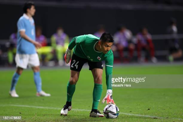 Kosuke Nakamura of Japan in action during the friendly match between Japan and Japan U-24 at the Sapporo Dome on June 3, 2021 in Sapporo, Hokkaido,...