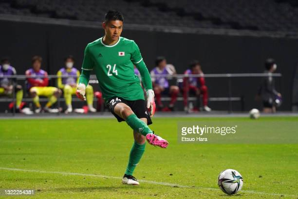 Kosuke Nakamura of Japan in action during the friendly match between Japan and Japan U-24 at the Sapporo Dome on June 03, 2021 in Sapporo, Hokkaido,...