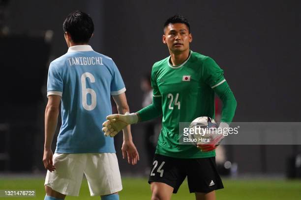 Kosuke Nakamura of Japan is seen during the friendly match between Japan and Japan U-24 at the Sapporo Dome on June 3, 2021 in Sapporo, Hokkaido,...