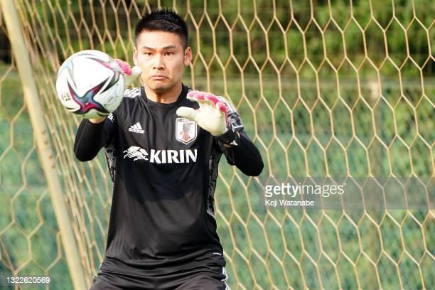 Kosuke Nakamura of Japan looks on during the Japan training session on June 08, 2021 in Suita, Osaka, Japan.