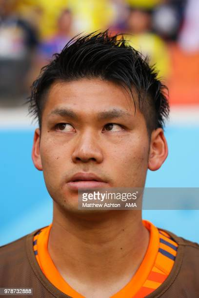 Kosuke Nakamura of Japan looks on from the bench prior to he 2018 FIFA World Cup Russia group H match between Colombia and Japan at Mordovia Arena on...