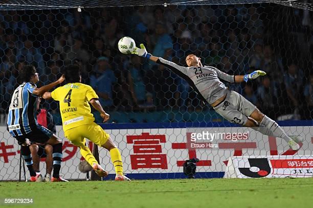 Kosuke Nakamura of Kashiwa Reysol#23 saves during the JLeague match between Kawasaki Frontale and Kashiwa Reysol at the Todoroki Stadium on August 27...