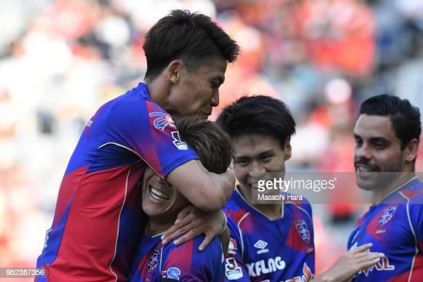 Kosuke Ota of FC Tokyo celebrates their second goal during the JLeague J1 match between FC Tokyo and Nagoya Grampus at Ajinomoto Stadium on April 28...