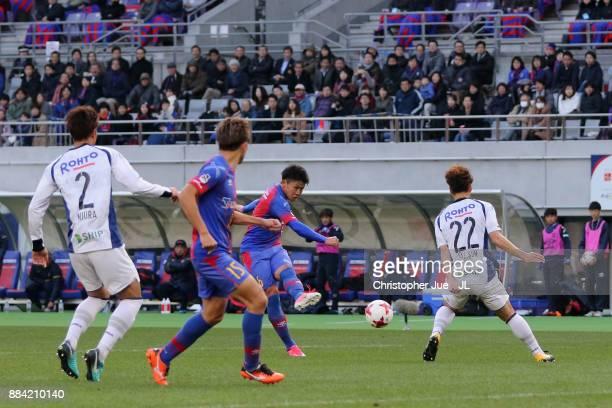 Kosuke Ota of FC Tokyo takes a shot during the JLeague J1 match between FC Tokyo and Gamba Osaka at Ajinomoto Stadium on December 2 2017 in Chofu...