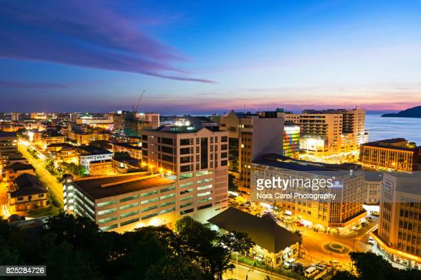 kota kinabalu city view - kota kinabalu stock pictures, royalty-free photos & images