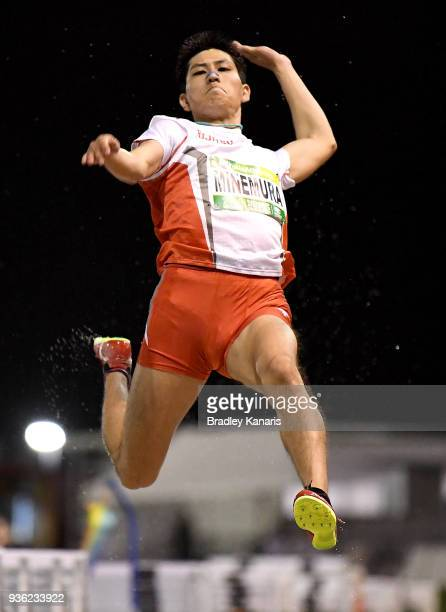 Kota Minemura of Japan competes in the Men's Long Jump during the Summer of Athletics Grand Prix at QSAC on March 22 2018 in Brisbane Australia