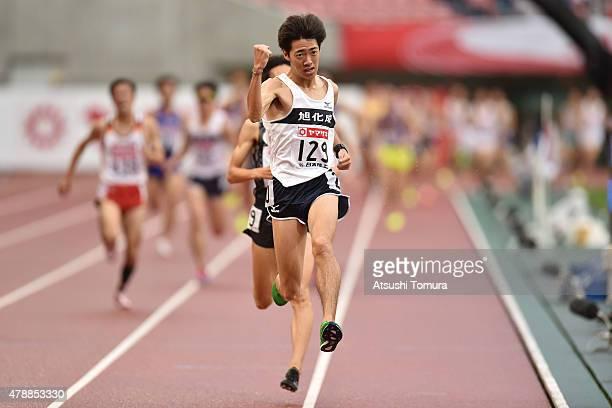 Kota Murayama of Japan celebrates after winning the mens 5000 meter final during the 99th Japan Athletics National Championships at Denka Big Swan...