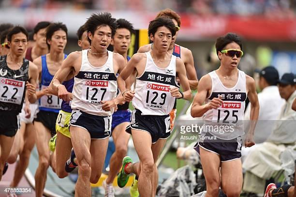 Kota Murayama of Japan competes in the mens 5000 meter final during the 99th Japan Athletics National Championships at Denka Big Swan Stadium on June...