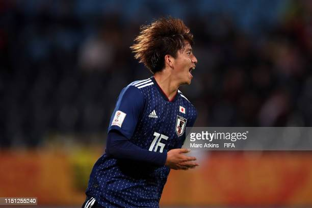 Kota Yamada of Japan celebrates scoring during the 2019 FIFA U20 World Cup group B match between Japan and Ecuador at Bydgoszcz Stadium on May 23...