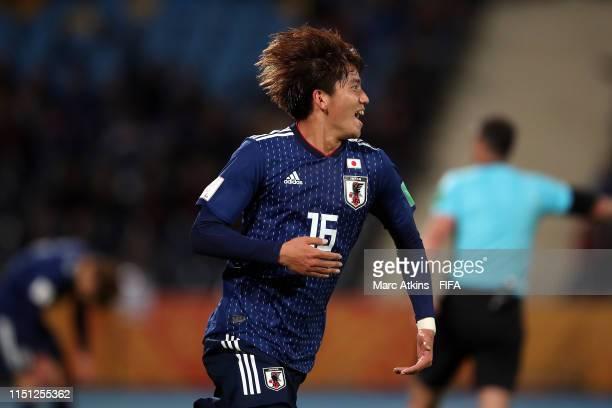 Kota Yamada of Japan celebrates scoring during the 2019 FIFA U20 World Cup group B match between Japan and Ecuador at Bydgoszcz Stadium on May 23...