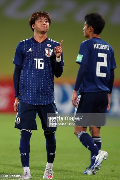 Kota Yamada of Japan celebrates scoring during the 2019 FIFA U-20 World Cup group B match between Japan and Ecuador at Bydgoszcz Stadium on May 23,...