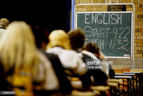 Kotara High School Year 12 students sit their HSC English exam 17 October 2005