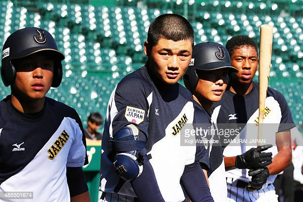 Kotaro Kiyomiya of Japan in acton during in the sendoff game between U18 Japan and Collegiate Japan before the 2015 WBSC U18 Baseball World Cup at...