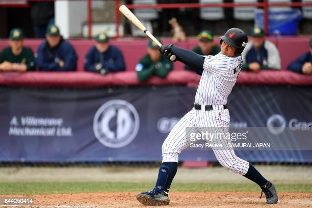 Kotaro Kiyomiya of Japan at bat during a game against Australia during the WBSC U18 Baseball World Cup Super Round game between Australia and Japan...