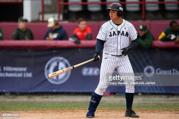 Kotaro Kiyomiya of Japan at bat during the sixth inning of a game against South Africa during the WBSC U18 Baseball World Cup Group B game between...