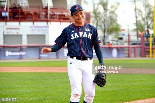 Kotaro Kiyomiya of Japan reacts after the bottom of sixth inning during the WBSC U18 Baseball World Cup Group B game between Japan and Mexico at Port...