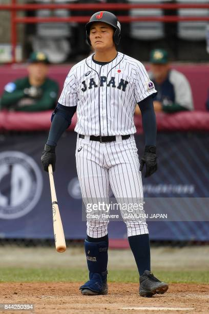 Kotaro Kiyomiya of Japan reacts to a pitch during a game against Australia during the WBSC U18 Baseball World Cup Super Round game between Australia...