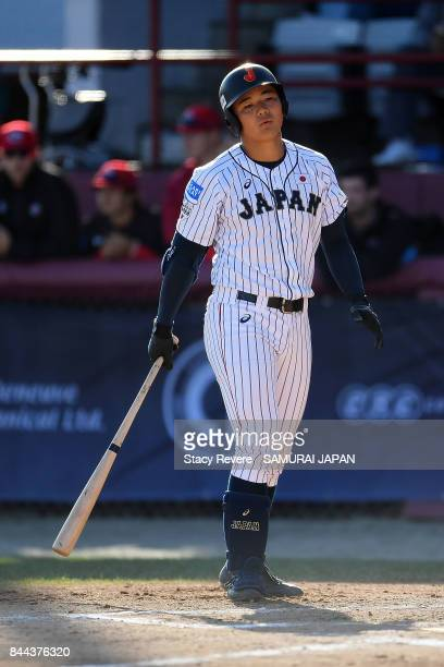 Kotaro Kiyomiya of Japan reacts to a strike out during the first inning of a game against Canada during the WBSC U18 Baseball World Cup Super Round...