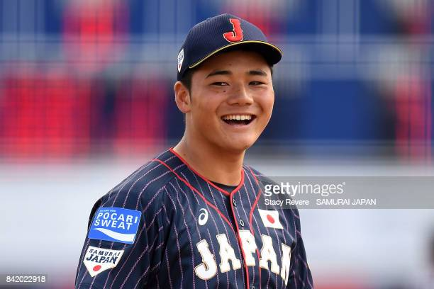 Kotaro Kiyomiya of Japan reatcs to a play during the sixth inning of a game against Mexico during the WBSC U18 Baseball World Cup Group B game...