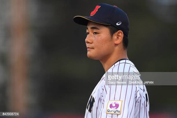 Kotaro Kiyomiya of Japan waits on the field during the fifth inning of a game against the United States during the WBSC U18 Baseball World Cup Group...