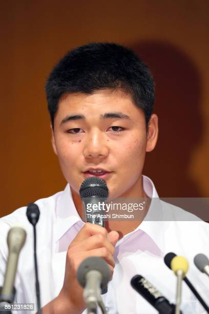 Kotaro Kiyomiya of Waseda Jitsugyo speaks during a press conference at Waseda Jitsugyo High School on September 22 2017 in Kokubunji Tokyo Japan