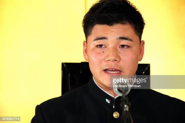 Kotaro Kiyomiya of Waseda Jitsugyo speaks during a press conference after agreeing to join the Hokkaido Nippon Ham Fighters at Meiji Kinenkan on...