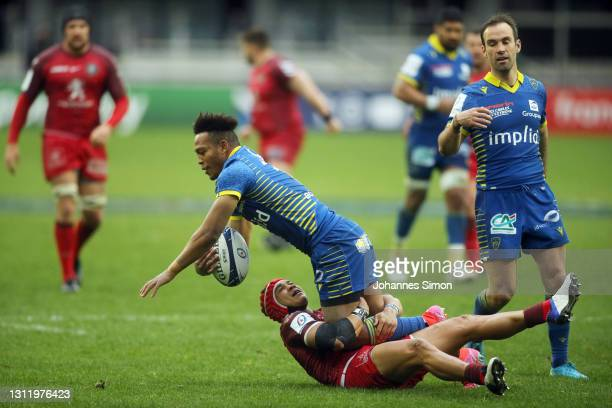 Kotaro Mastsushima of Clermont during the Quarter Final Champions Cup match between Clermont and Toulouse at Parc des Sports Marcel Michelin on April...
