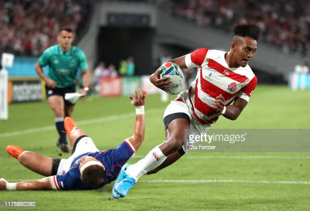 Kotaro Matsushima of Japan on his way to scoring his team's first try during the Rugby World Cup 2019 Group A game between Japan and Russia at the...