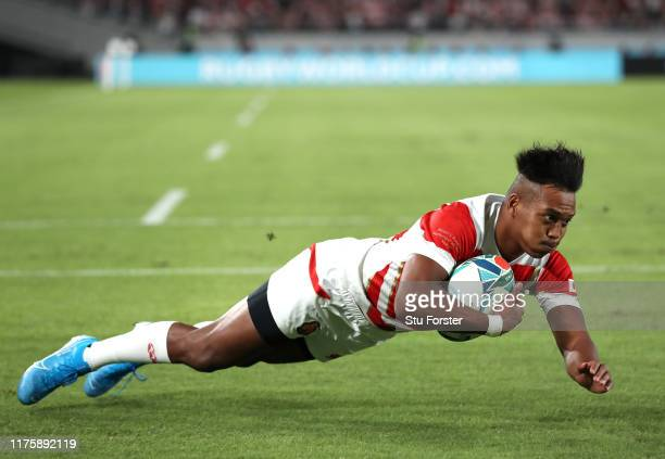 Kotaro Matsushima of Japan scores his team's first try during the Rugby World Cup 2019 Group A game between Japan and Russia at the Tokyo Stadium on...