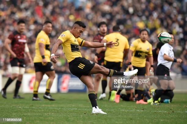 Kotaro Matsushima of Suntory Sungoliath kicks during the Rugby Top League match between Toshiba Brave Lupus and Suntory Sungoliath at Prince Chichibu...