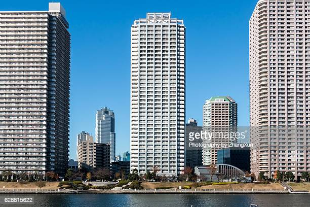 Koto ward waterfront landscape of Tokyo Japan in the morning.