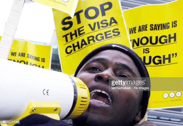 Kotomah Issahaku a Ghanaian student at Middlesex University joins a protest by students to demonstrate against increased visa charges