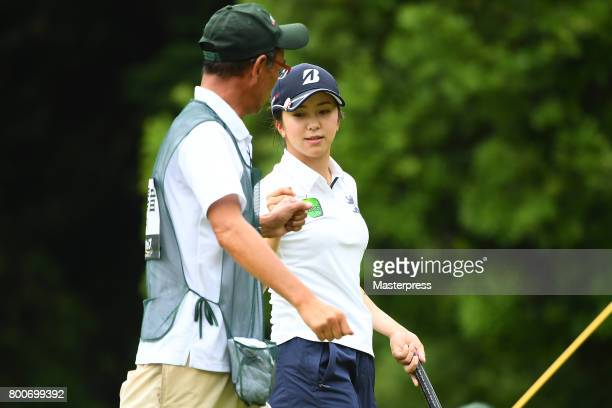 Kotone Hori of Japan celebrates during the final round of the Earth Mondamin Cup at the Camellia Hills Country Club on June 25 2017 in Sodegaura Japan