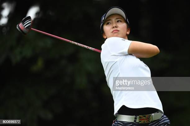 Kotone Hori of Japan hits her tee shot on the 12th hole during the final round of the Earth Mondamin Cup at the Camellia Hills Country Club on June...