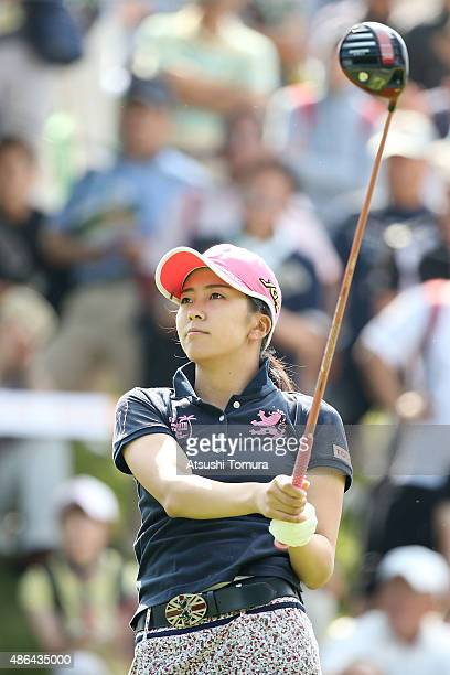 Kotone Hori of Japan hits her tee shot on the 1st hole during the first round of the Golf 5 Ladies Tournament 2015 at the Mizunami Country Club on...