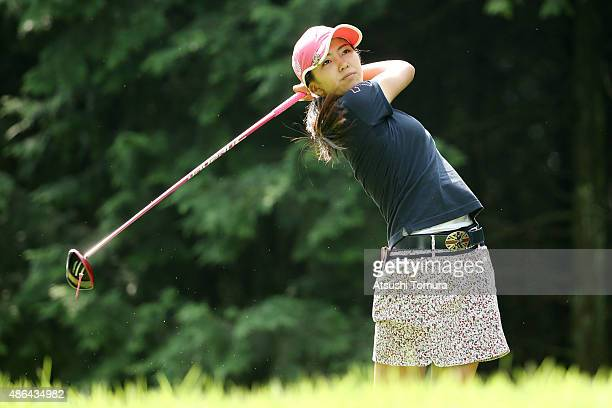 Kotone Hori of Japan hits her tee shot on the 2nd hole during the first round of the Golf 5 Ladies Tournament 2015 at the Mizunami Country Club on...