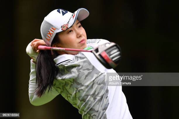 Kotone Hori of Japan hits her tee shot on the 6th hole during the first round of the Nipponham Ladies Classic at the Ambix Hakodate Club on July 6...