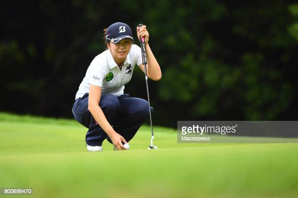 Kotone Hori of Japan lines up during the final round of the Earth Mondamin Cup at the Camellia Hills Country Club on June 25 2017 in Sodegaura Japan