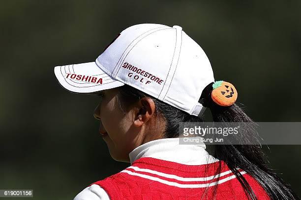 Kotone Hori of Japan on the 7th green during the second round of the Mitsubishi Electric/Hisako Higuchi Ladies Golf Tournament at the Musashigaoka...