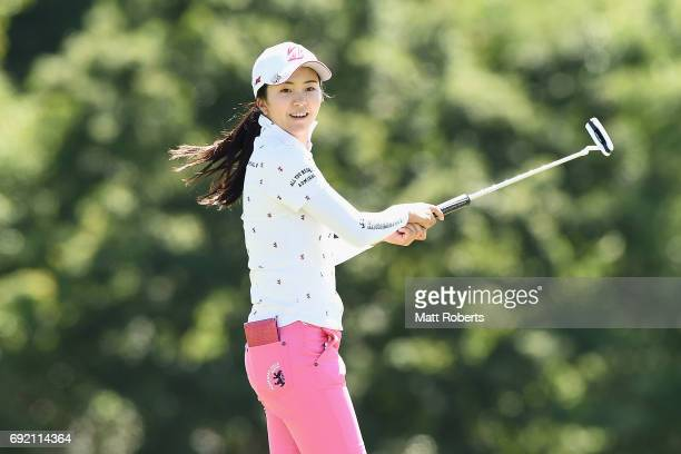 Kotone Hori of Japan reacts after her putt on the 18th green during the final round of the Yonex Ladies Golf Tournament 2016 at the Yonex Country...