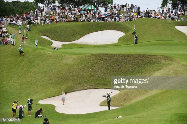Kotono Kozuma of Japan hits from a bunker on the 17th hole during the final round of the Golf 5 Ladies Tournament 2017 at the Golf 5 Country Oak...